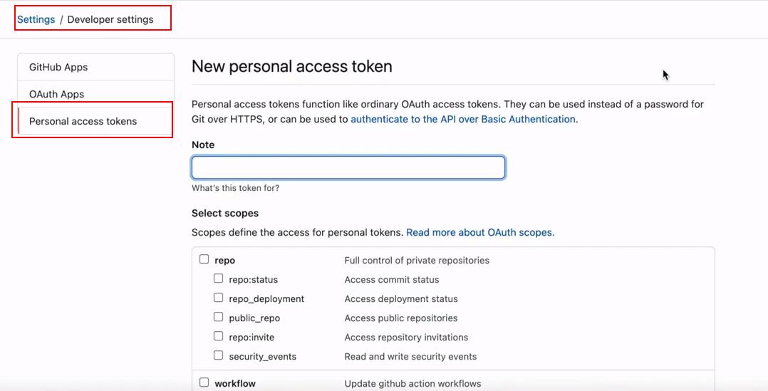 Panel para crear Personal Access Tokens