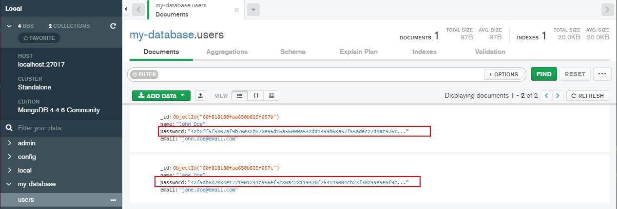 Guardando el hash de las passwords
