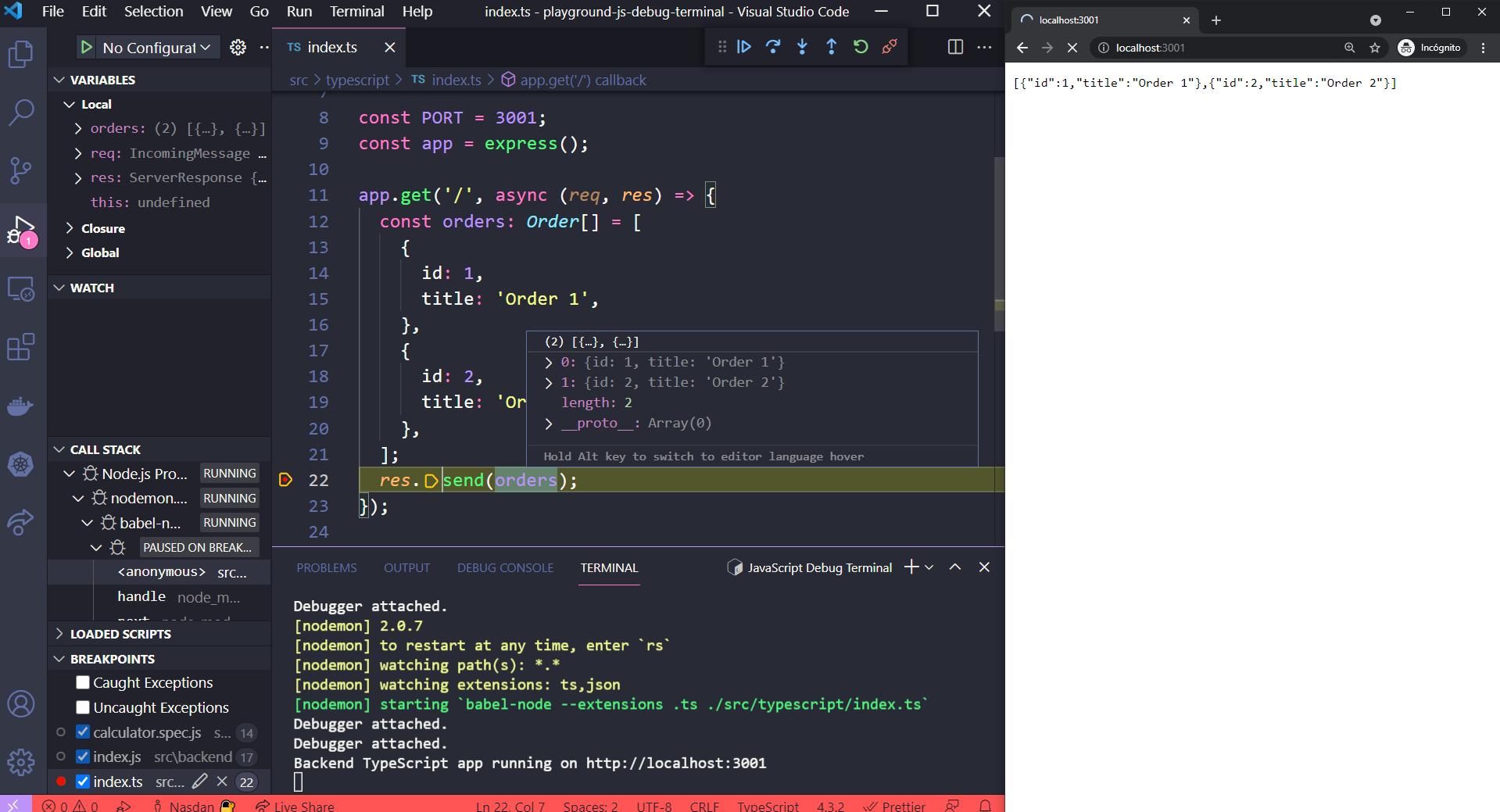 Depurando aplicación backend TypeScript