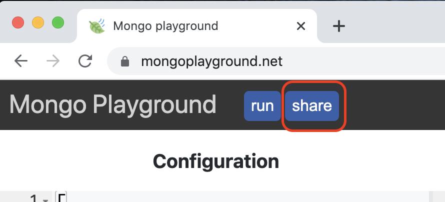 Compartir playground vía enlace pulsando en botón share