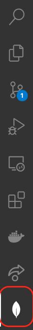 Sidebar de VSCode seleccionar icono con la hoja de MongoDB