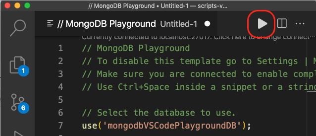 Mongo al lado de pestañas ficheros botón play del plugin de MongoDb
