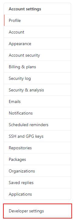 Botón developer settings