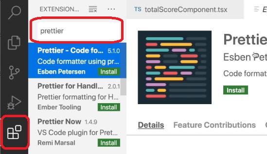 Visual Studio extensiones buscamos y elegimos prettier para instalar