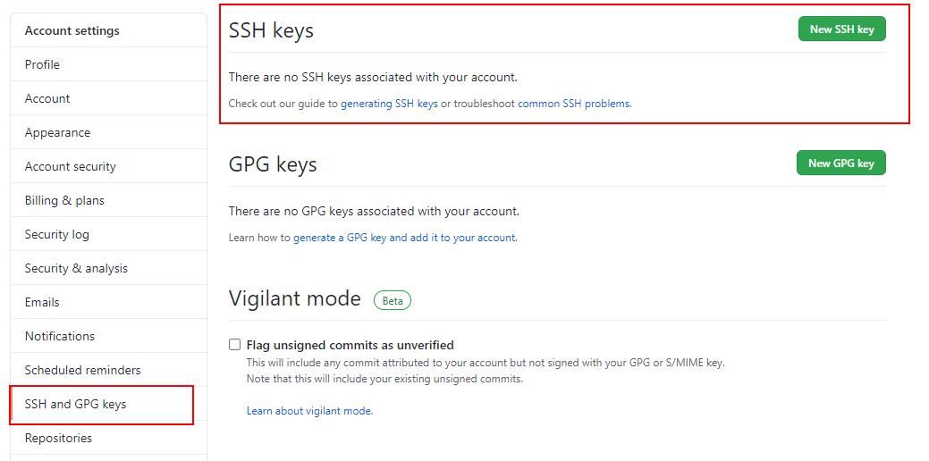 Botón nueva clave SSH