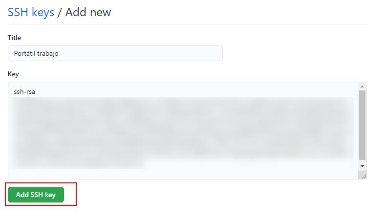 Añadir nueva clave SSH
